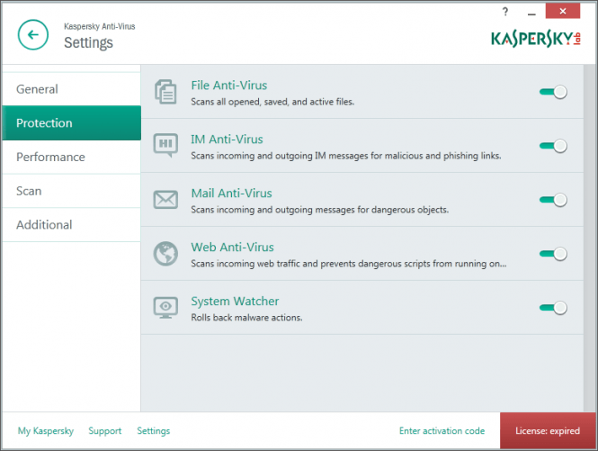 Kaspersky Settings Window