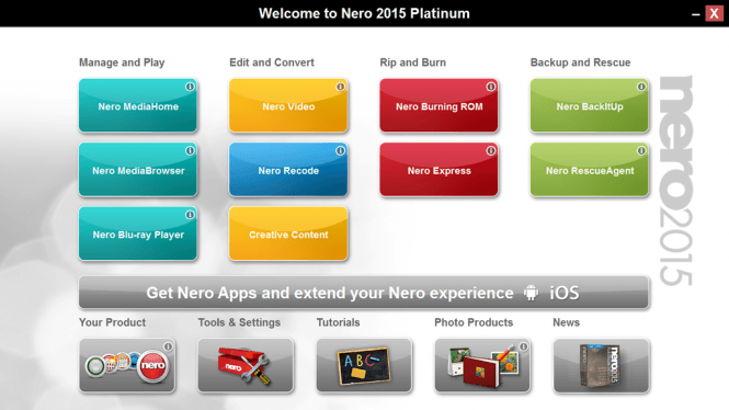 Nero 2015 Platinum Interface