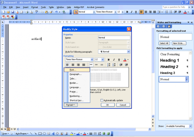 MS Office 2003 Word interface