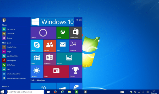 Windows 10 Home desktop and Start menu