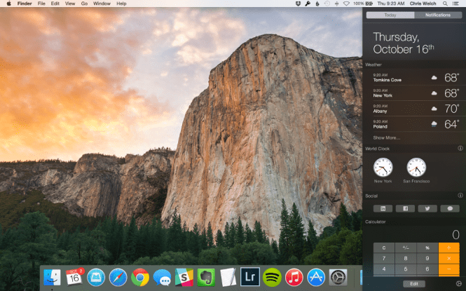 Mac OS X Yosemite 10.10.5 desktop