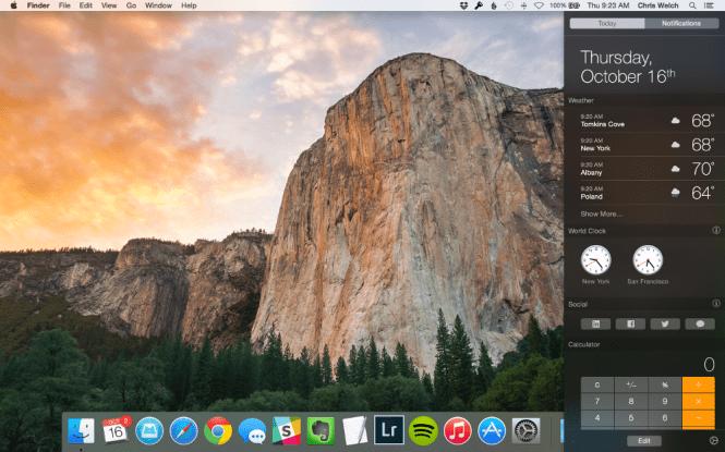 Mac OS X Yosemite 10.10.5 desktop
