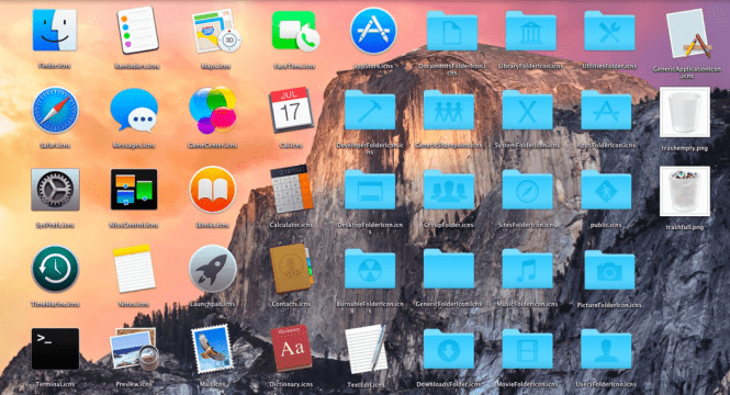 Mac OS X Yosemite 10.10.5 icons and interface design