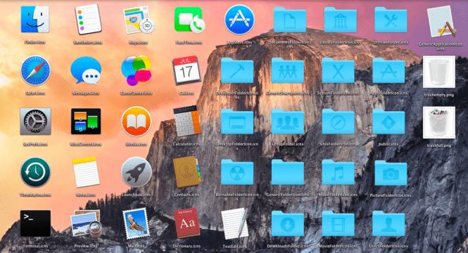 Mac OS X Yosemite 10.10.5 icons and interface design