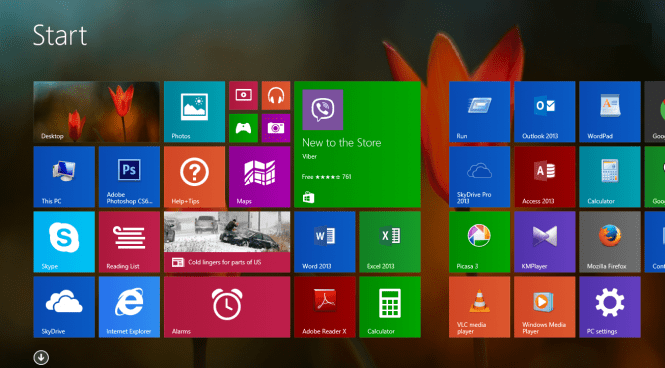 Windows 8.1 Pro Start menu