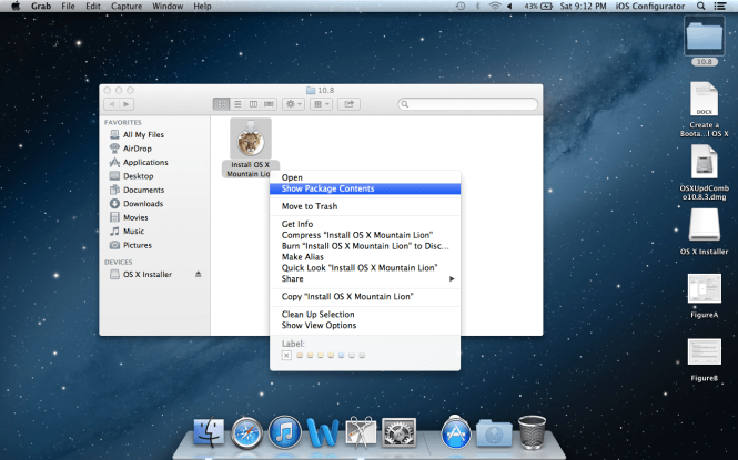 Mac OS X Mountain Lion 10.8.5 desktop and windows