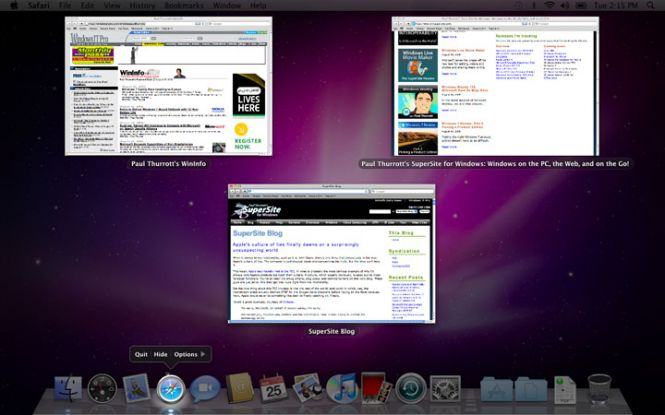 Mac OS X Snow Leopard interface and windows
