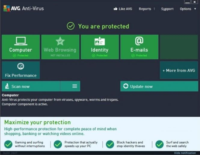AVG Antivirus 2016 interface