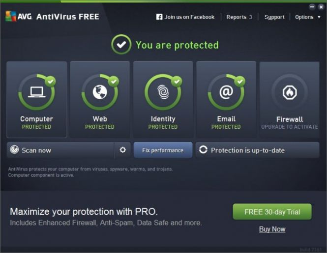 AVG Antivirus FREE 2016 interface
