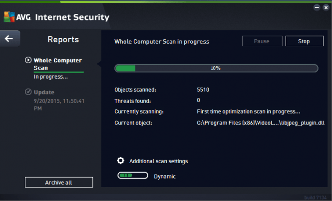 AVG Internet Security 2016 scanning