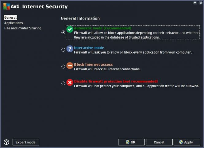 AVG Internet Security 2016 interface