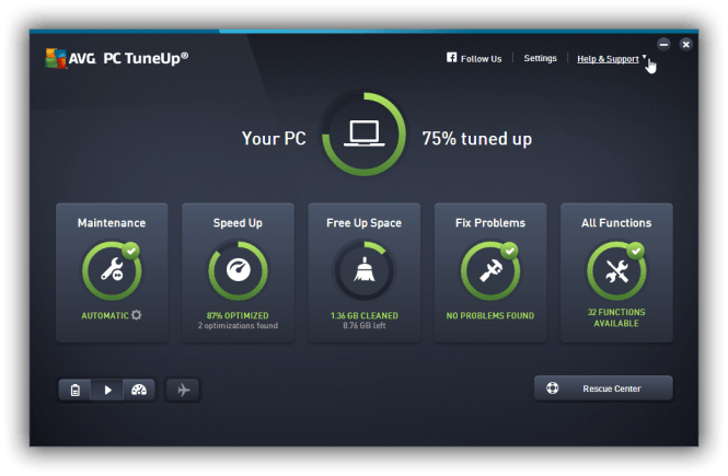 AVG PC TuneUp 2016 interface