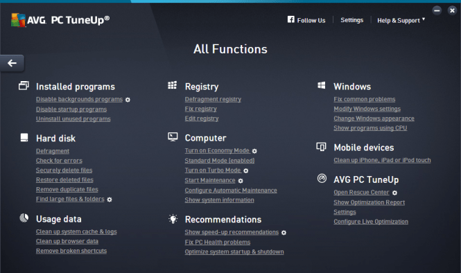 AVG PC TuneUp 2016 features