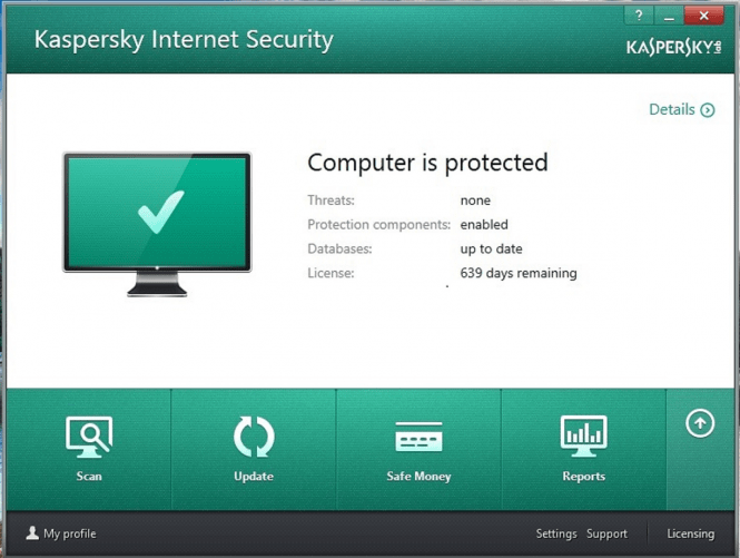 Kaspersky Internet Security 2016 interface