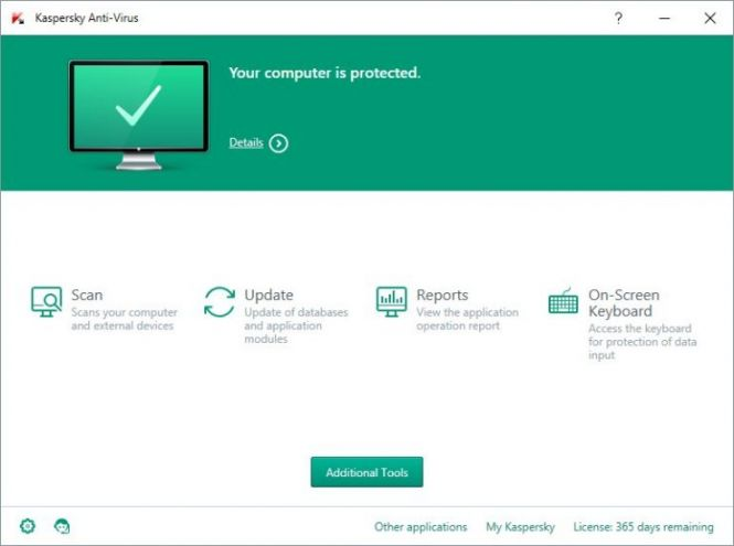 Kaspersky Antivirus 2016 interface