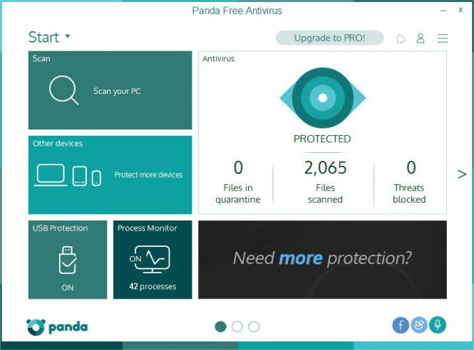 Panda Free Antivirus 2016 interface