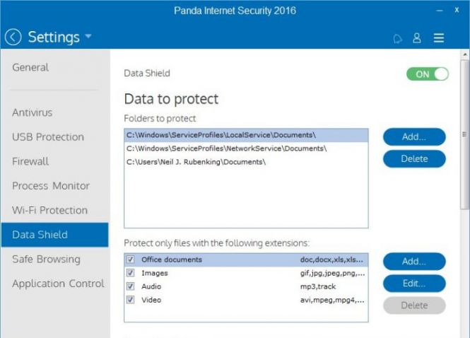 Panda Internet Security 2016 Data Shield
