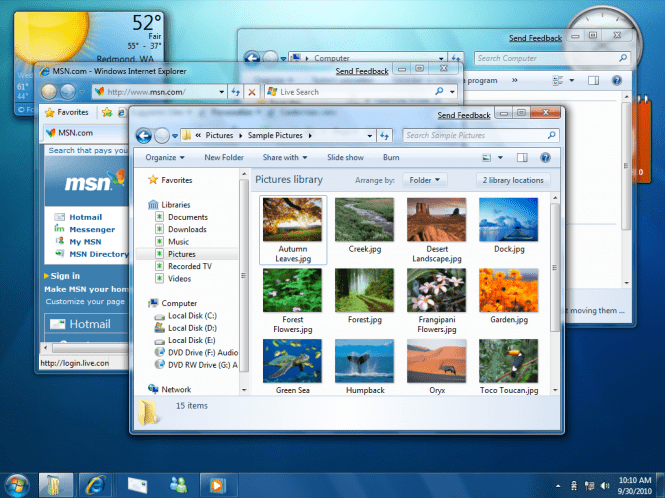 Windows 7 Pro interface