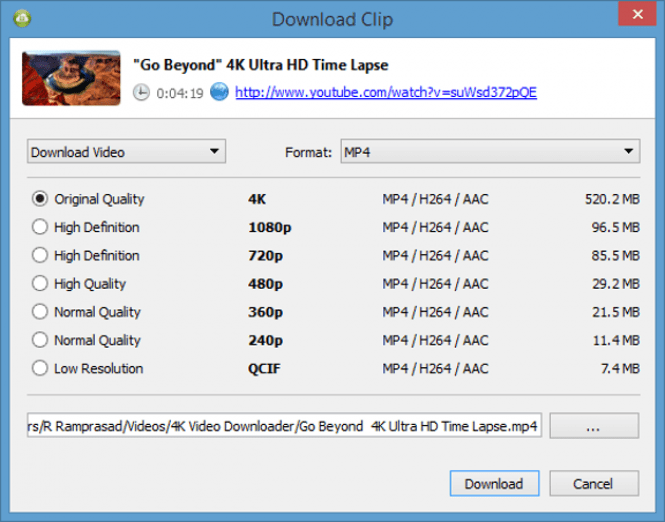 4K Video Downloader download options