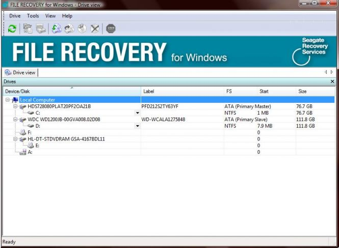 Seagate File Recovery interface