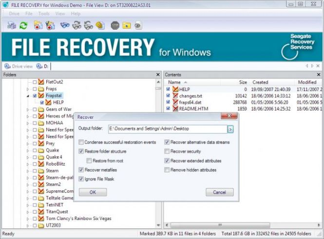 Seagate File Recovery options