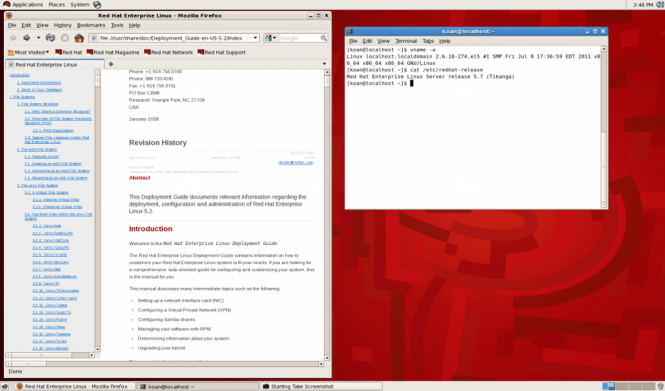 Red Hat Enterprise Linux interface
