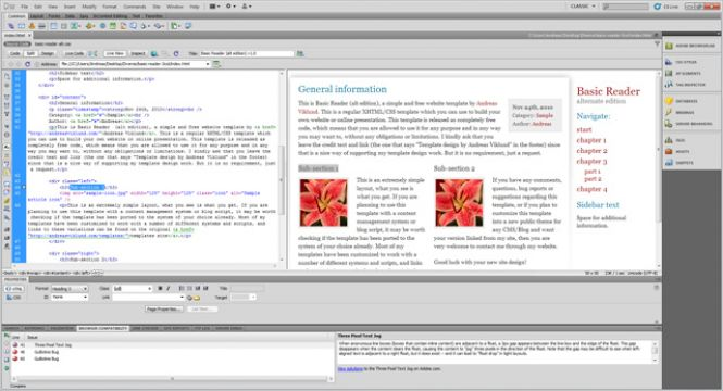 Adobe Dreamweaver working