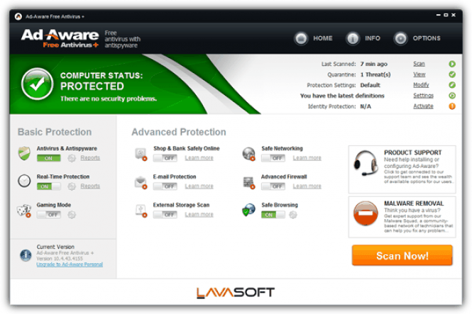 Ad-Aware Free Antivirus + interface
