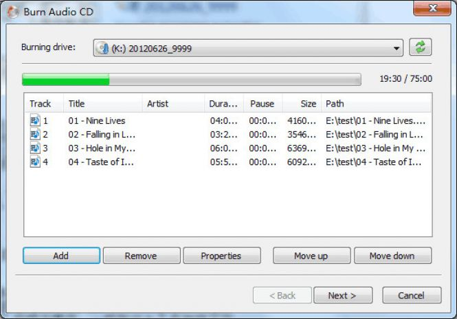 AnyBurn audio CD burning