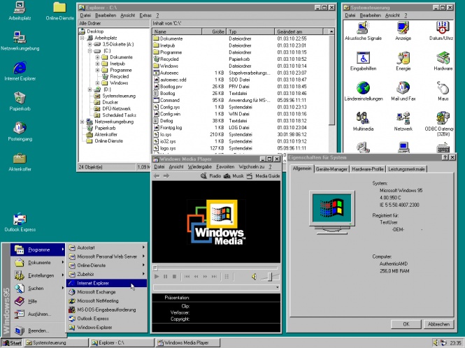 Windows 95 interface and features
