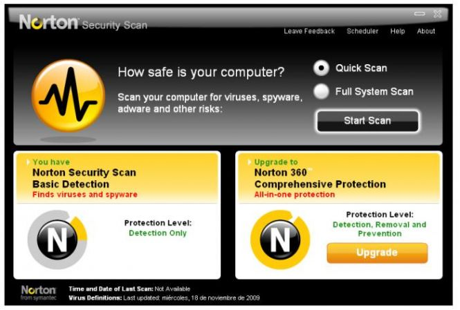 Norton Security Scan interface