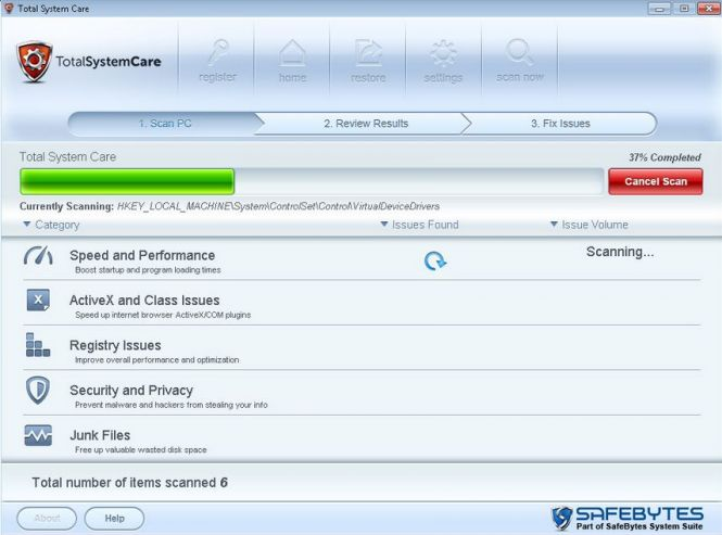 Total System Care scanning