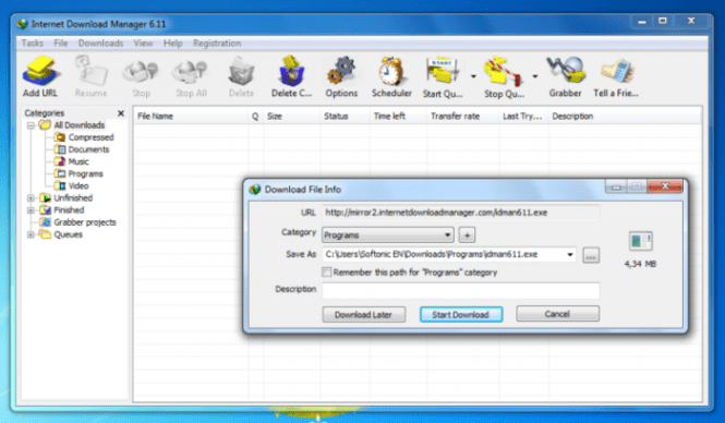 Internet Download Manager interface