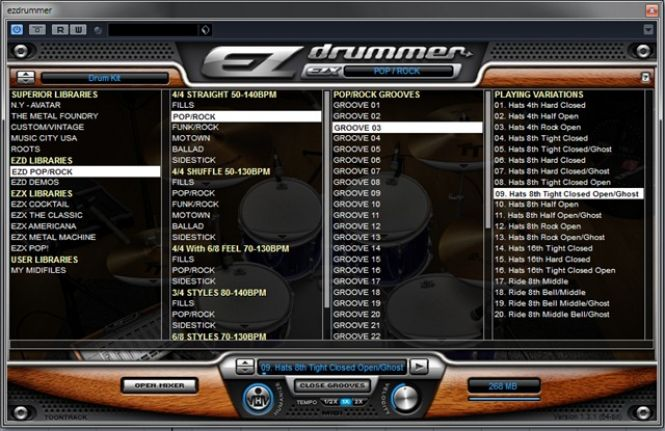 EZdrummer sample selection