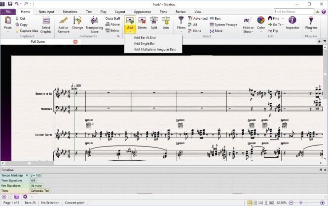 Sibelius 8.1 interface