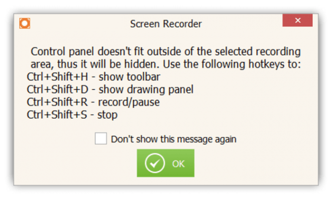 Icecream Screen Recorder hotkey access
