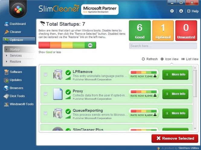 SlimCleaner Plus interface