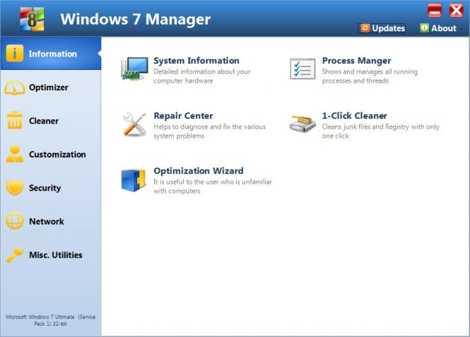 Windows 7 Manager interface