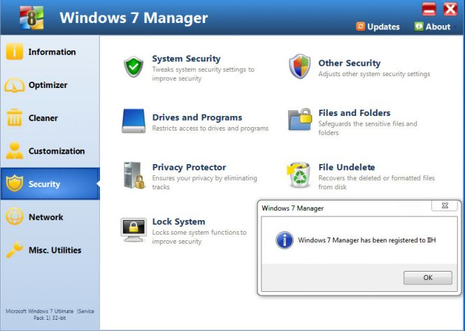 Windows 7 Manager features