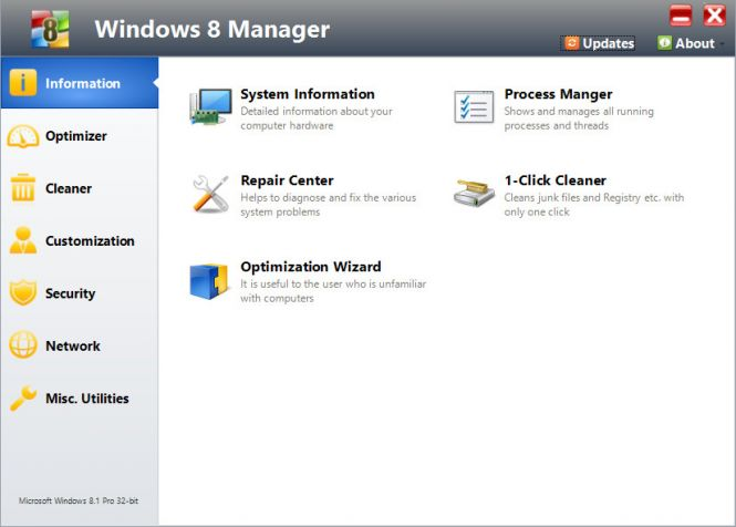 Windows 8 Manager interface