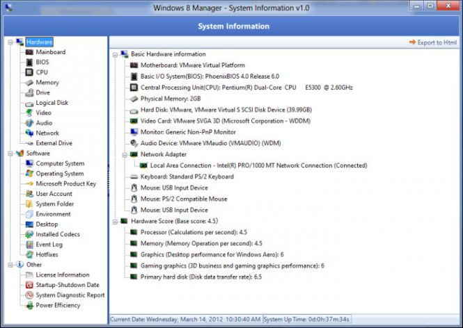 Windows 8 Manager system information tool
