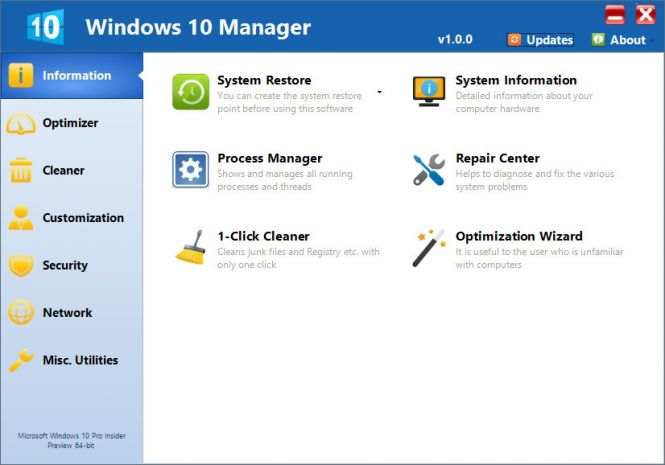 Windows 10 Manager interface