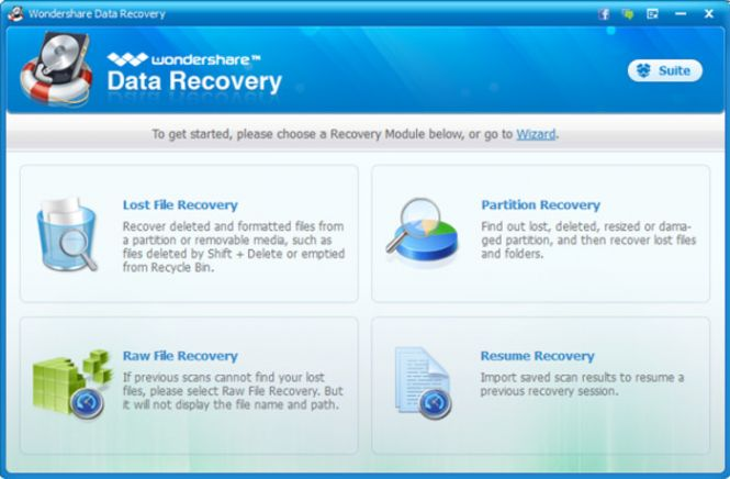 Wondershare Data Recovery interface