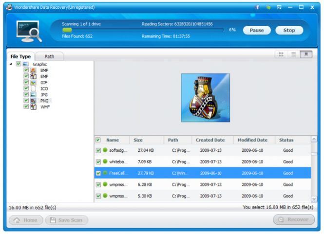 Wondershare Data Recovery restoring
