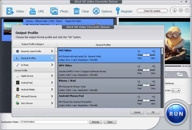 WinX HD Video Converter Deluxe converting a video