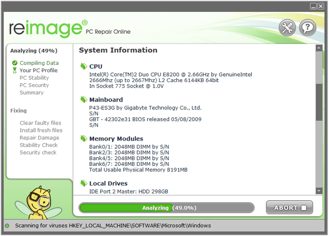 pc scan and repair by reimage