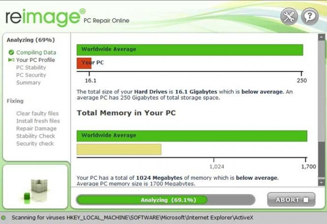 Reimage PC Repair interface
