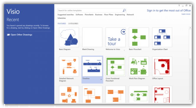 Visio 2016 interface