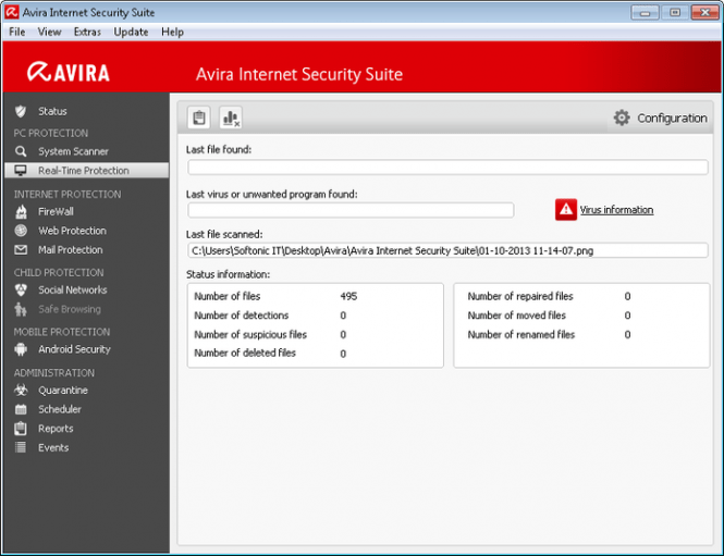 Avira Internet Security Suite interface