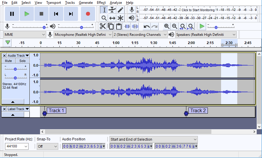 Audacity 2 - download in one click  Virus free